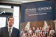 President Thayne McCulloh at anniversary celebration of UWSOM-GU Regional Health Partnership on March 2 on GU campus.