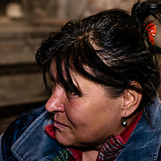 15 of April 2015 / Petrovski/ Donetsk Oblast/ Ukraine - Louba, 52 years old, figure of a leader for the other woman in the bunker.
