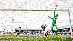 Falkirk's keeper Michael McGovern saves.<br /> Dundee 0 v 1 Falkirk, Scottish Championship game played today at Dundee's Dens Park.<br /> &copy; Michael Schofield.