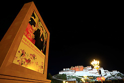 A file photo made available on 21 September 2016 of the Potala Palace and a monument showing Chinese President Xi Jinping on the Potala Palace Square in Lhasa, Tibet Autonomous Region, China, 09 September 2016. The famous Potala Palace used to be the main residence of the Dalai Lama but is now a preserved as a museum and world heritage site.