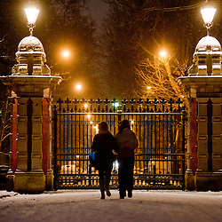 London, UK - 18 January 2013: Victoria Park gets covered in snow as UK face severe weather