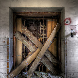 Derelict lift at Hellingly Asylum,East Sussex