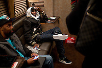 Meek Mill hangs out in his tour bus after he finished his set during the MMG Tour in Providence, Rhode Island at the Dunkin Donuts Center on November, 16, 2012.  Photo by Matthew Healey