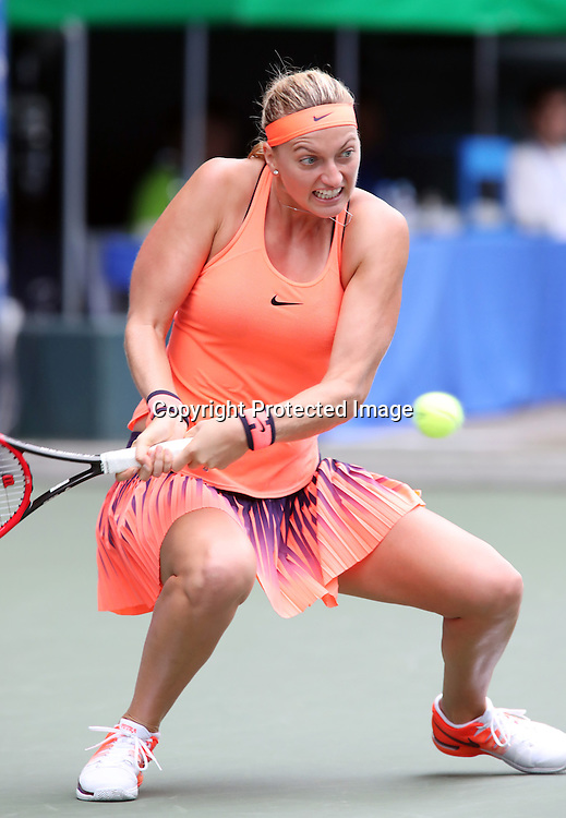 September 21, 2016, Tokyo, Japan - Petra Kvitova of Czech Republic returns the ball against Rio de Janeiro Olympics gold medalis Monica Puig of Puerto Rico during the second round of the Toray Pan Pacific Open tennis championships in Tokyo on Wednesday, September 21, 2016. Puig defeated Kvitova 1-6, 6-4, 6-4.   (Photo by Yoshio Tsunoda/AFLO) LWX -ytd-