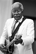"Black and white film image of Roebuck Pops"" Staple, Patriarch of The Staple Singers Gospel and R & B group by Chicago photographer Javet M. Kimble"