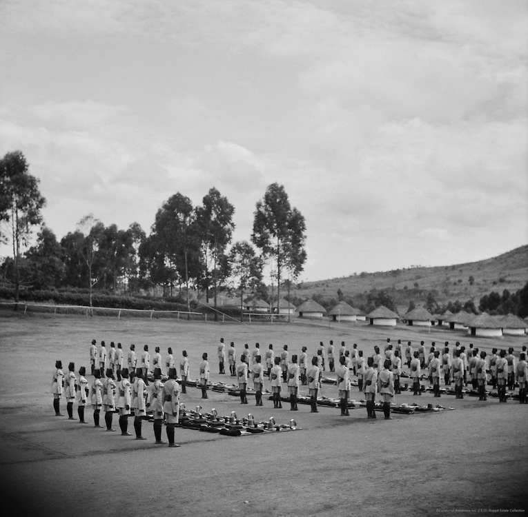 Askari Policemen at Parade Roll Call, Kampala, Uganda, Africa, 1937