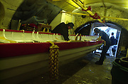 Richmond, Surrey, Specially commissioned boats built for the 150 year anniversary of the Varsity Boat Race to be raced on Boat Race day with selected crew members. The Cutters built at the Richmond Bridge Boat Houses.  [Mandatory Credit; Peter Spurrier / Intersport Images].
