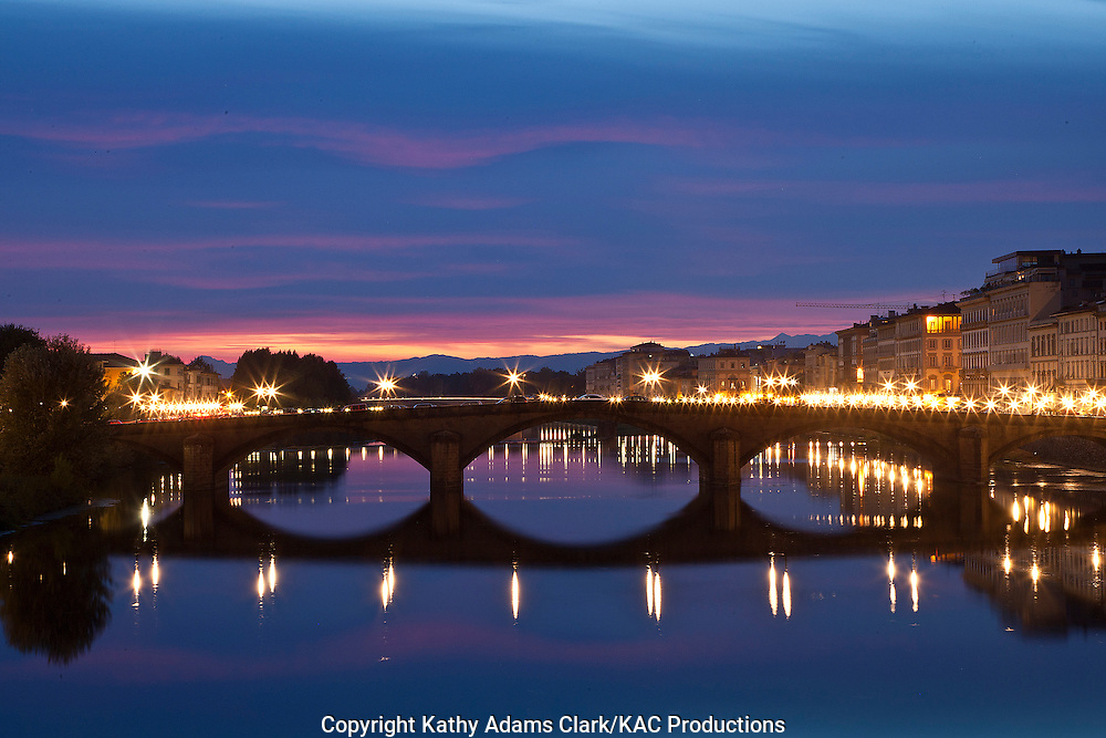 Ponte Santa Trinita, Arno River at night, in Florence, Firenza, Italy,