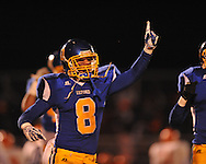 Oxford High's Harland Stewart (8) celebrates after recovering a fumble by Jackson Callaway's Jabari Woodcox (24) in a MHSAA North 5A playoff game in Oxford, Miss. on Friday, November 29, 2013. Oxford won 23-7 to advance to the Class 5A championship game against Picayune.