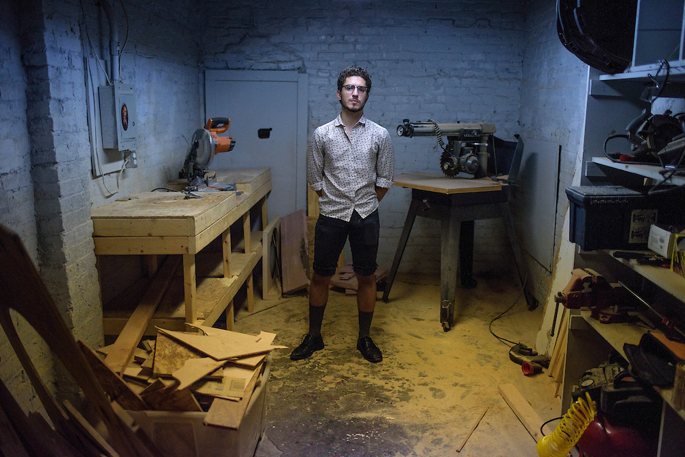 Baltimore, Maryland - July 21, 2014: <br /> <br /> Louis Abbene-Meagley is a  2013 graduate of MICA in his Ash Street Studio space.<br /> <br /> U.S. culture has a stereotype about &quot;starving artists,&quot; and high priced art colleges like MICA might not seem to some like a good return on investment.<br /> CREDIT: Matt Roth