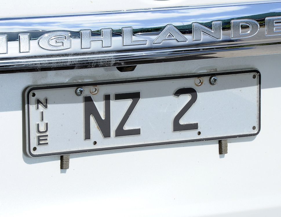 High Commission number plate, Pacific Mission 2012, Alofi, Niue, Wednesday, July 25, 2012. Credit:SNPA / Ross Setford