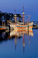 Replica of a English merchant vessel that  brought the new settlers to Roanoke Island in 1585.
