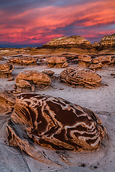 "Sunset on the ""Egg Garden"". Bisti / De-Na-Zin Wilderness in northwest New Mexico."