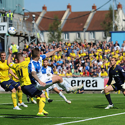 James Clarke of Bristol Rovers hooks the ball back into the box - Mandatory byline: Dougie Allward/JMP - 07966386802 - 06/09/2015 - FOOTBALL - Memorial Stadium -Bristol,England - Bristol Rovers v Oxford United - Sky Bet League Two