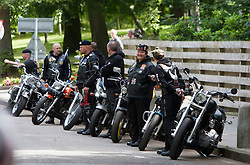 The Riders Branch, The Royal British Legion Scotland (RBL Scotland Riders or RBLS Riders) arrive at the funeral of Highlander Scott McLaren from The Highlanders, 4th Battalion The Royal Regiment of Scotland took place today, Tuesday 26th July, at Mortonhall Crematorium, Edinburgh..©Pic : Michael Schofield.