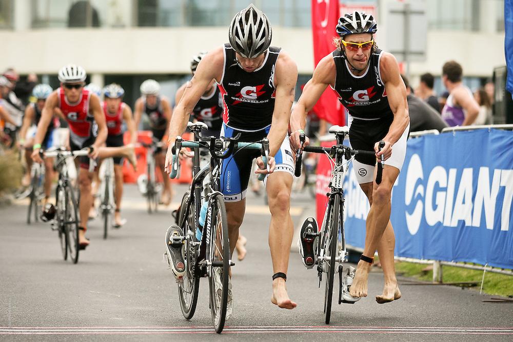 Triathletes approaching dismount line after bike leg at Gatorade Triathlon Series 2011/12 Race 3