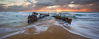 The SS Dicky ran aground during heavy seas in 1893 and was then re-floated, but again, heavy seas turned the ship about and back onto the sand where it remains to this day.