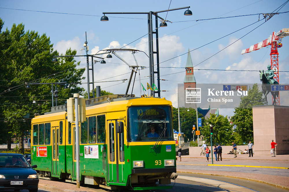 Tram on the street, Helsinki, Finland