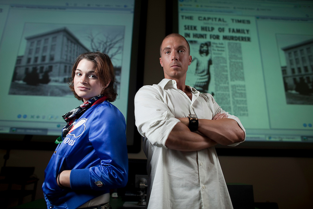 London, Ontario ---11-08-23--- Dr. Mike Arntfield, and student Jillian Clair stand in a classroom at the University of Western Ontario, August 23, 2011, with some of the original reports of a cold murder case from 1968. Arntfield, a full time police officer teaches students like Clair to examine cold cases in his &quot;The Serial Killer and the Media&quot; course, part of the university's Media Information and Technoculture program. Clair interviewed a suspect in the 1968 murder of a University of Wisconsin student Christine Rothschild.<br /> GEOFF ROBINS The Globe and Mail