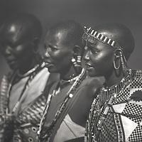 Maasai women in traditional garb, Masai Mara, Kenya.