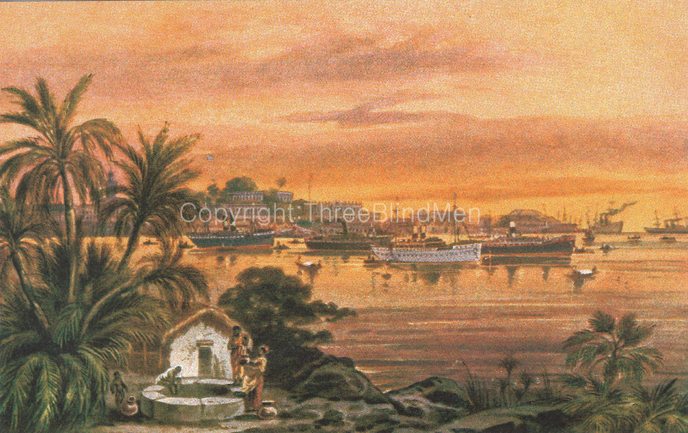 Old Post Card of Ceylon. A view of Colombo harbour.