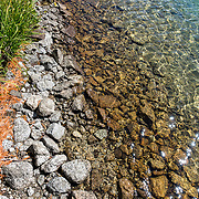 A shoreline pattern of green grass, orange pine needles, white rocks, yellow submerged rocks and green water at Glacier Lake. Eagle Cap Wilderness, Wallowa–Whitman National Forest, Wallowa Mountains, Columbia Plateau, northeastern Oregon, USA.