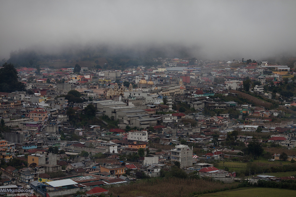 Panorama of the main town of San Pedro Soloma. The municipality of San Pedro Soloma, also known as Tz'uluma', is located at 2300 meters above sea level on the Cuchumatanes Sierra in Northwest Guatemala. Its population of nearly 50,000 residents is mostly made up of Q'anjob'al Mayans. The phenomenon of migration to North America has been widespread in San Pedro Soloma, with most migrants ending up in Southern California. San Pedro Soloma, Huehuetenango, Guatemala. November 5, 2012.