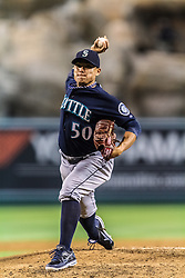 ANAHEIM, California/USA (Tuesday, September 25, 2012) - Seattle Mariners relief pitcher Erasmo Ramirez #50 throws to the plate during the Mariners vs. Angels game held at the Angels  Stadium. The Mariners lost 5-4. Byline and/or web usage link must read PHOTO © Eduardo E. Silva/SILVEX.PHOTOSHELTER.COM.