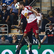 New York Red Bulls Defender DAMIEN PERRINELLE (55) heads the ball in the second half of a Major League Soccer match between the Philadelphia Union and New York Red Bulls Sunday, July. 17, 2016 at Talen Energy Stadium in Chester, PA.