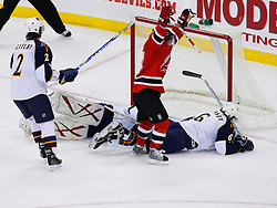 Nov 1, 2008; Newark, NJ, USA; New Jersey Devils right wing Brian Gionta (14) scores a goal during the second period at the Prudential Center.
