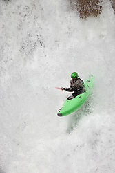 """""""Kayaker on Silver Creek 21"""" - This kayaker was photographed on Silver Creek - South Fork, near Icehouse Reservoir, CA."""