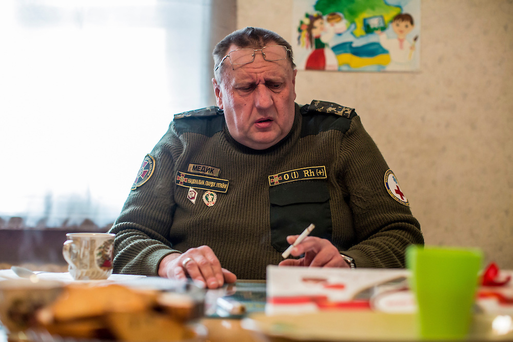 ARTEMIVSK, UKRAINE - FEBRUARY 14: Igor Petrovich, a coordinator of medical services for the Ukrainian Army, speaks to reporters in his office on February 14, 2015 in Artemivsk, Ukraine. A ceasefire between Ukrainian forces and pro-Russian rebels is scheduled to go into effect at midnight. (Photo by Brendan Hoffman/Getty Images) *** Local Caption *** Igor Petrovich