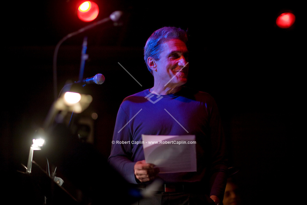 Former US poet laureate, Robert Pinsky, readssome poetry prior to a collaboration with jazz musicians and current US poet laureate Charles Simic, at the Jazz Standard in New York, U.S. 1/8/08.