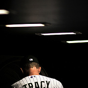 SHOT 9/25/10 9:11:03 PM - Colorado Rockies manager Jim Tracy in the duggout against the San Francisco Giants during their NL West game at Coors Field in Denver, Co. The Rockies won the game 10-9 in 10 innings. (Photo by Marc Piscotty / © 2010)