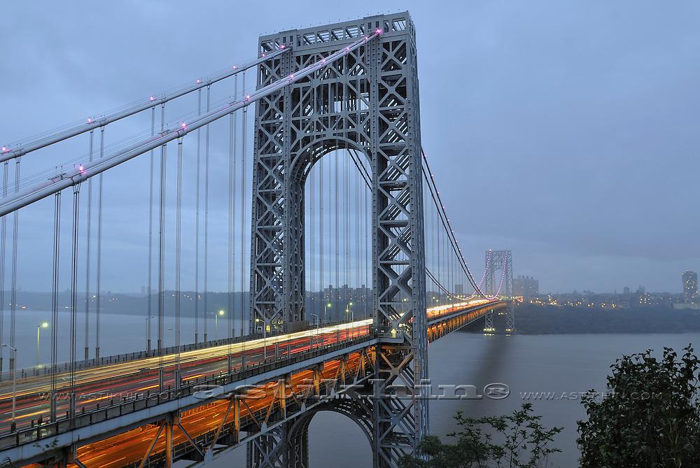Traffic on George Washington Bridge to New York City, USA.