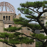 The A-Bomb Dome, formerly the Hiroshima Prefectural Industry Promotion Hall,  which survived the August 6th 1945 atomic bombing of Hiroshima. The dome, now a memorial, has been an inspiration for Mr. Shigemoto's haiku poems, Hiroshima, Japan. 30.07.05