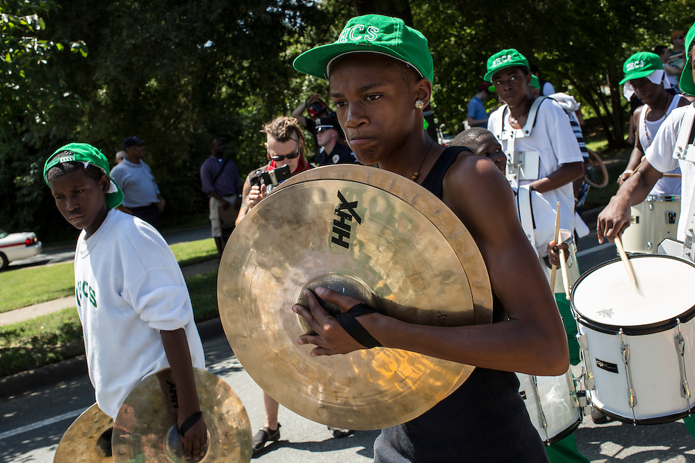 A marching band takes part in the March on Wall Street South protest on Sunday, September 2, 2012 in Charlotte, NC.