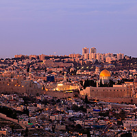 Twilight view from the South of the Old City of Jerusalem, with the Jewish Quarter, Western Wall, Temple Mount and Dome of the Rock in the center.