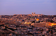 Twilight view from the South of the Old City of Jerusalem, with the Jewish Quarter, Western Wall, Temple Mount and Dome of the Rock in the center. WATERMARKS WILL NOT APPEAR ON PRINTS OR LICENSED IMAGES.