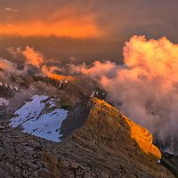 Europe,Switzerland, Appenzell, Mount Saentis, rainbow and storm over Altman and Alpstein