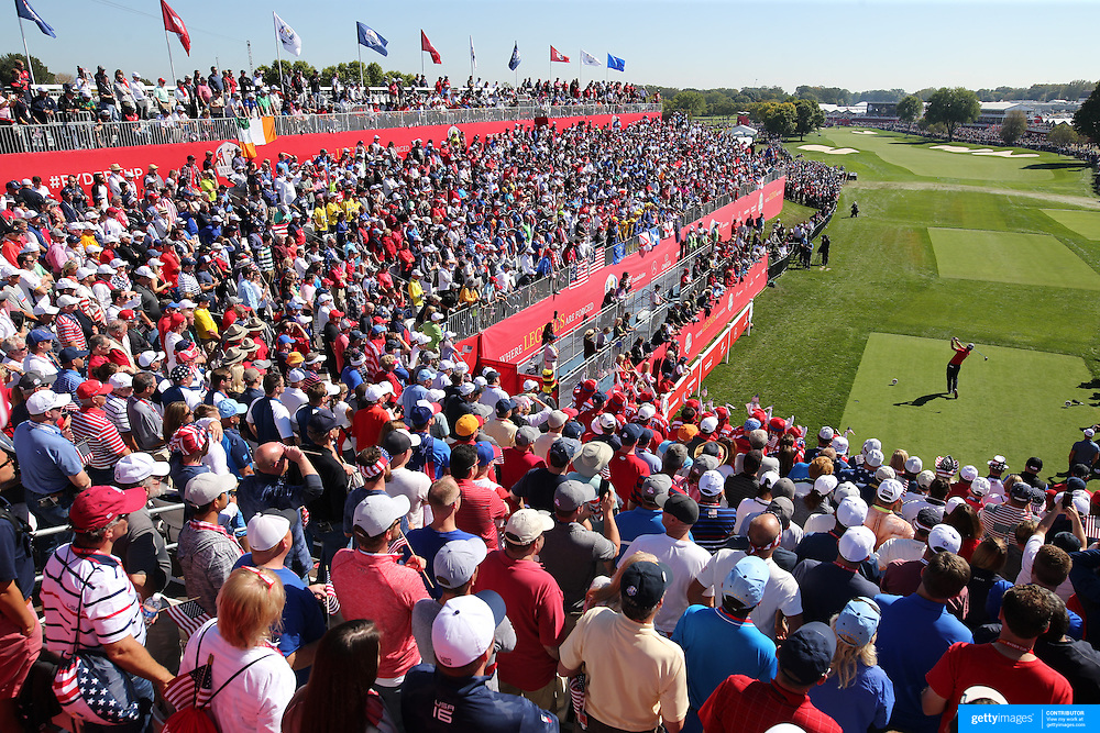 Ryder Cup 2016. Day One. Brandt Snedeker of the United States tees off at the first hole in the Friday afternoon four ball during the Ryder Cup competiton at the Hazeltine National Golf Club on September 30, 2016 in Chaska, Minnesota.  (Photo by Tim Clayton/Corbis via Getty Images)