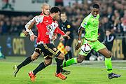 ROTTERDAM - Feyenoord - Ajax , Voetbal , KNVB Beker , Seizoen 2015/2016 , Stadion de Kuip , 25-10-2015 , Speler van Feyenoord Tonny Vilhena (l) en Karim El Ahmadi (l) in duel met Ajax speler Riechedly Bazoer (r)