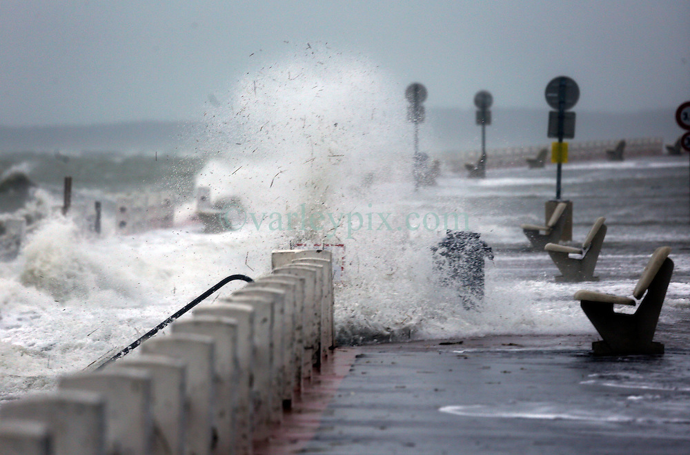 13 Jan 2017. Le Crotoy, Picardie, France.<br /> A fierce winter storm pushes the tide over the surge barrier on the Promenade Jules Noiret in the Bai Somme.<br /> Photo&copy;; Charlie Varley/varleypix.com