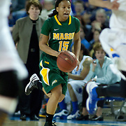 George Mason Guard Rahneeka Saunders (15) dribbles the ball up court in the second of a regular season NCAA basketball game against Delaware Thursday, Jan 10, 2013 at the Bob Carpenter Center in Newark Delaware...Delaware (10-3; 1-0) defeated George Mason (5-8; 0-2) 62-27..Delaware is riding a four-game winning streak after defeating George Mason, St. John's in over- time on Jan. 2 and Villanova (Dec. 29) and Duquesne (Dec. 30) to capture the 2012 Dartmouth Blue Sky Classic title.