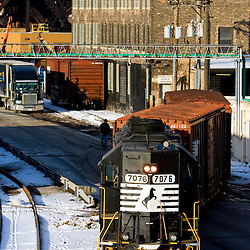 The Norfolk Southern is delivering boxcars of paper products to this paper mill on the near south side of Chicago, IL.