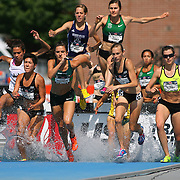 BUSH-HIGGINSON -13USA, Des Moines, Ia. Nicole Bush and Ashley Higginson were early leaders and also finished first and second in the steeplechase.  Photo by David Peterson
