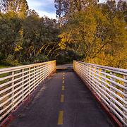 Footbridge over Humbug Creek/Willow Creek along the American River Trail in Lake Natoma Area. Folsom, CA