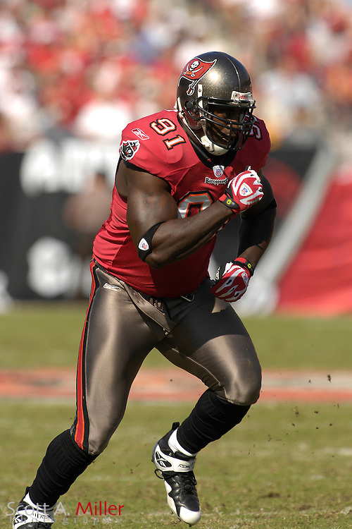 Nov. 4, 2007; Tampa, FL, USA;  Tampa Bay Buccaneers defender (91) Greg White in action during the Bucs 17-10 win over the Arizona Cardinals at Raymond James Stadium. ...©2007 Scott A. Miller