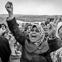 Syrian refugees protest against the Syrian government outside of their camp in Reyhanli, Turkey, Friday, March 16, 2012. The number of Syrian refugees in Turkey is now about 17,000. March 2012.