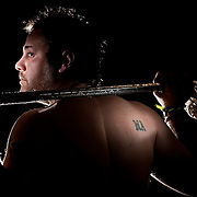 A tattoo on the shoulder of Wells College lacrosse player Dan Hunt serves as a memorial to his close friend and former teammate Matt Angelillo.  Angelillo was killed in a traffic collision in 2004 when the two were juniors at Skaneateles High School.<br /> <br /> 0523.Hunt01.st<br /> Sam Tenney / The Citizen